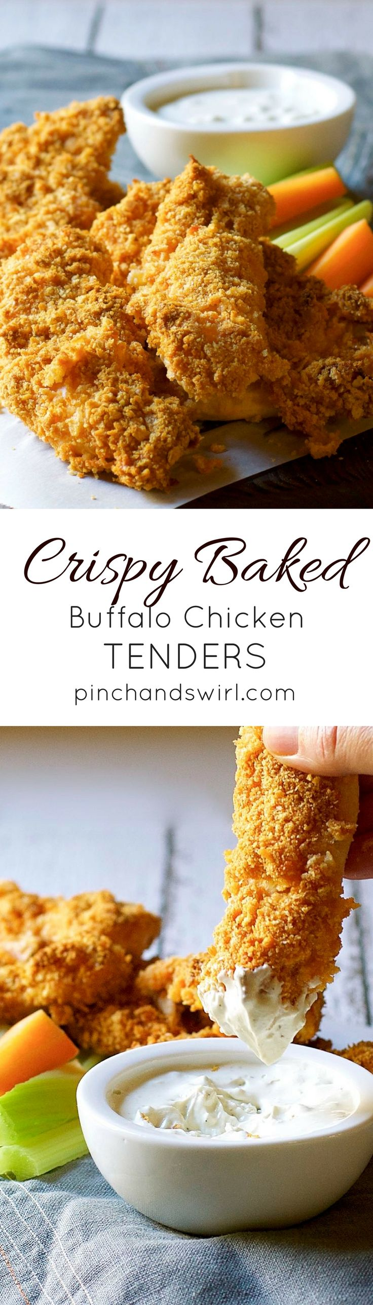 Crispy Baked Buffalo Chicken Tenders - truly crispy, knock your socks off delicious! The perfect party food! #partyfood #easyrecipes via @pinchandswirl