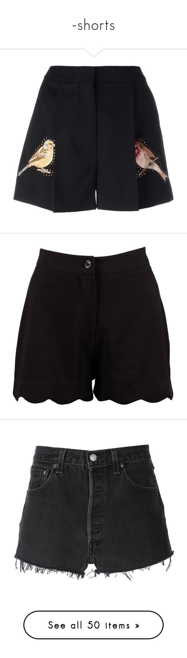 """""""-shorts"""" by flynty ❤ liked on Polyvore featuring shorts, bottoms, pants, short, black, high waisted studded shorts, short shorts, zipper shorts, high-rise shorts and pleated shorts"""