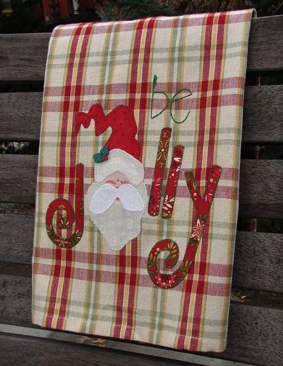 Santa Kitchen Towel l Applique Santa | Be Jolly | Hand Embroidery | Holiday Home Decor | Christmas Decor | Green White Red Plaid Tea Towel