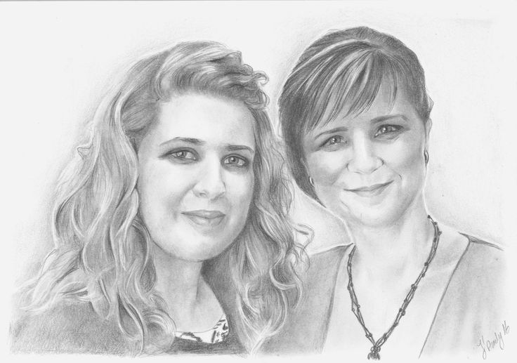Sisters portrait pencils drawing