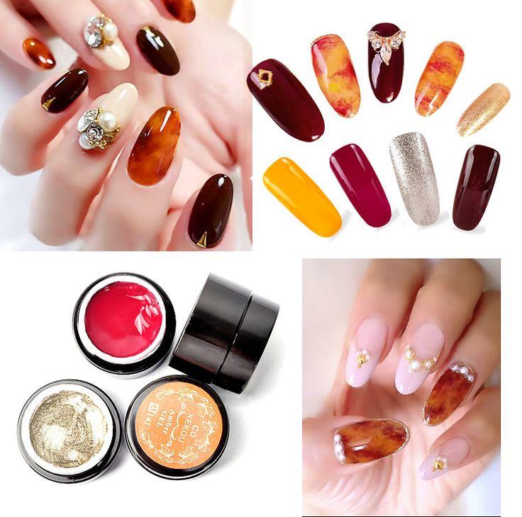 4 Colors Amber UV Gel Polish Nail Art Painting Design Color Gradate Drawing Translucent Manicure at Banggood
