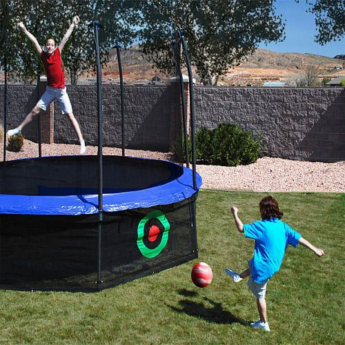 The Azooga Sports Arena Sure Shot Trampoline Accessory Game by Skywalker trampolines is a great accessory for your round trampoline. This lower game net serves two purposes first it helps keep small objects or children out from underneath the jumping area and second the target has a fun bounce back feature providing added kicking throwing and tossing fun for those children waiting their turn to jump.