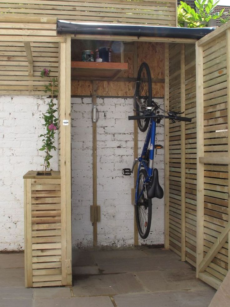 Practical garage for bicycles – bicycle shed or bicycle garage in the outdoor area  – Fahrrad
