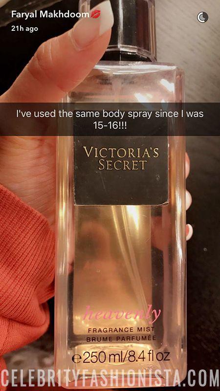 Faryal Makhdoom on Snapchat Feb 26, 2017, showing a Victoria´s Secret Fragrance https://api.shopstyle.com/action/apiVisitRetailer?url=https%3A%2F%2Fwww.victoriassecret.com%2Fbeauty%2Fmists%2Fheavenly-fragrance-mist-victorias-secret%3FProductID%3D267423%26CatalogueType%3DOLS&pid=uid7729-3100527-84. #style #celebstyle #victoriassecret #snapchat