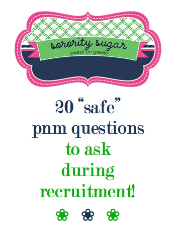 as a PNM make sure you steer clear of controversial questions during rush! check out these safe & happy topics for  making conversation during rounds... <3 BLOG LINK:   http://sororitysugar.tumblr.com/post/40213607638/what-r-some-inteligent-questions-to-ask-at-rush-or
