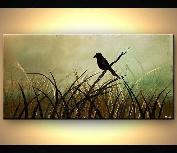 ORIGINAL Abstract Contemporary Black Bird Acyrlic by OsnatFineArt, $400.00