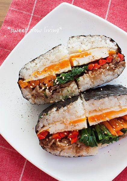 彩り野菜で鮮やか♪ビビンバ風おにぎらず。|sweet slow living ~ happyうちごはん ~