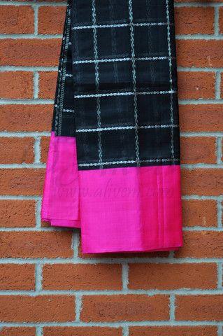 Black Kuppadam Pattu Saree with Silver checks and Broad Pink Borders - Aliveni  - 1