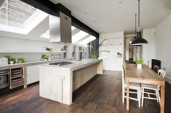 Love the modern and rustic touches...and all the space for cooking and entertaining!