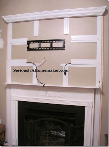 Hiding TV cables -- This could work above our new fireplace!