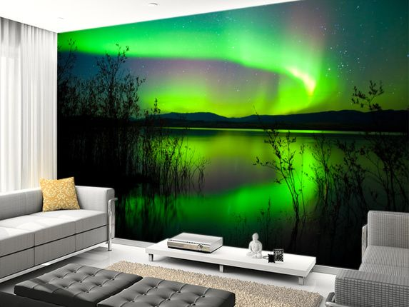 Northern Lights Mirror wall mural living room preview