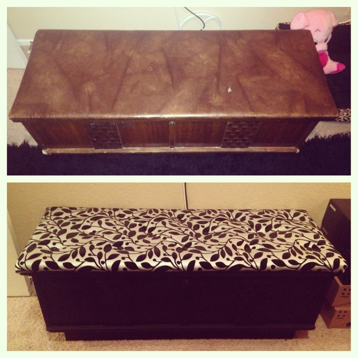 Before and after hope chest I reupholstered  using a tufting technique and painted it!