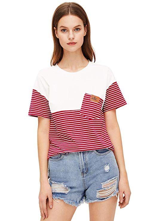 eff742c04fb SweatyRocks Women's Colorblock Summer Short Sleeve Casual Loose T-Shirt  Crop Top at Amazon Women's Clothing store: