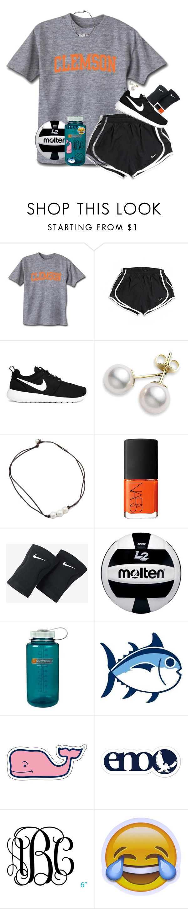 """Almost exact ootd yesterday to the first day of VBall!"" by evedriggers ❤ liked on Polyvore featuring NIKE, Mikimoto, NARS Cosmetics, Nalgene, Southern Tide and Vineyard Vines"