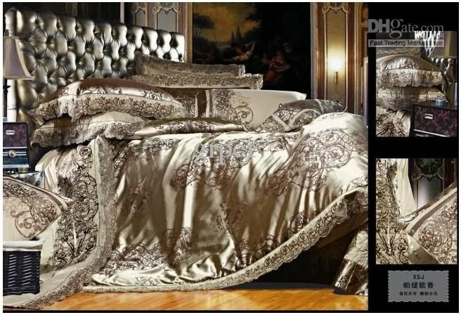 Wholesale Natural silk bedding set jacquard khaki king queen cotton Wedding luxury bedspread satin quilt, Free shipping, $154.66-196.0/Piece | DHgate