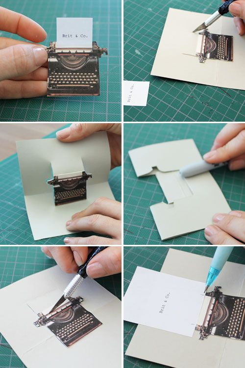 """3 cute pop up cards.. tutorial and printable """"Pop Goes the DIY Pop-Up Name Card 