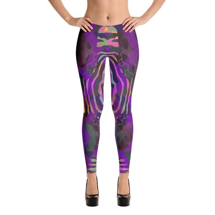 Purple Zebra Print Aztec Pattern Leggings