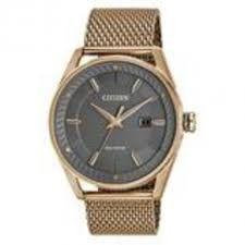 Citizen Men's Stainless Steel Rose Gold Mesh Bracelet Band Grey Dial Smart Watch