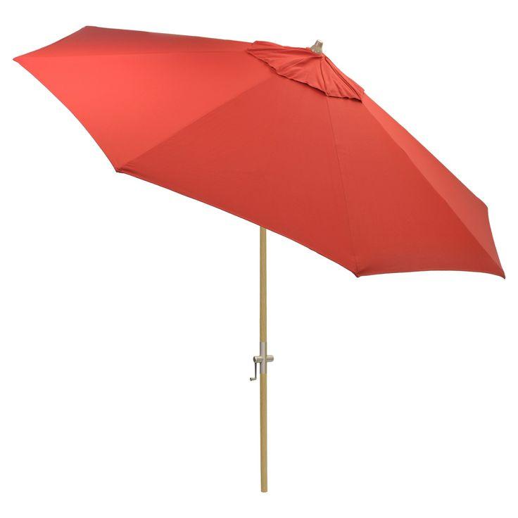 9' Round Sunbrella Umbrella - Canvas Jockey Red - Light Wood Finish - Smith & Hawken