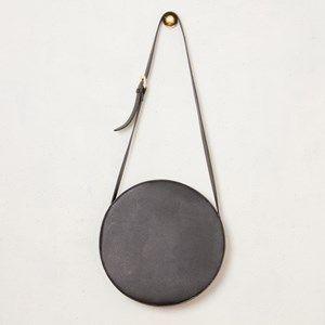 Smooth PU Belted Strap Round Handbag