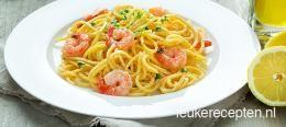 Citroen knoflook pasta met garnalen
