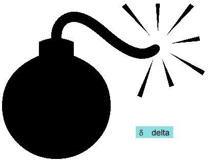 δ , una bomba con mecha.