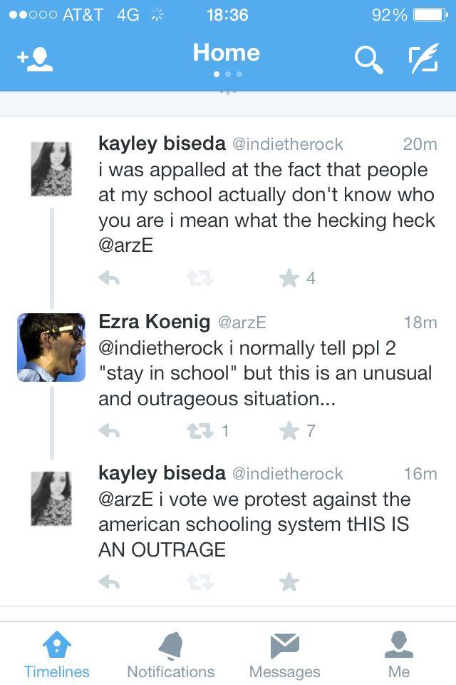 FREAKING EZRA KOENIG TWEETED ME I AM FREAKING OUT