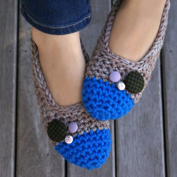 Crochet Slippers with Vintage Buttons     @Lauren Young....will you make me some of these?