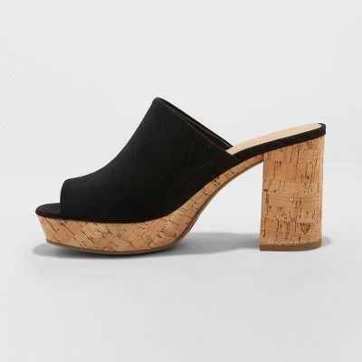 37ad5e3ac69 Women's Michelle Cork Mules - Universal Thread Black 9.5 Heeled Mules  Sandals, Platform Mules,