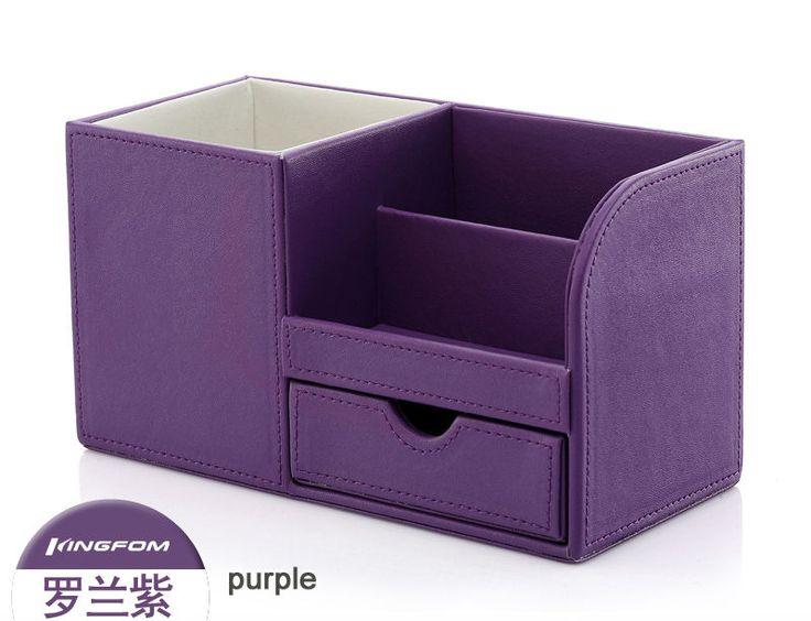 Purple Desk Caddy | leather desk cosmetics case sundries stationery storage box pen holder ...