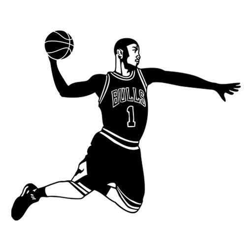 Vinilo barato decorativo jugador de baloncesto a punto de realizar un mate. Pegatina para decoracion de paredes de baloncesto.