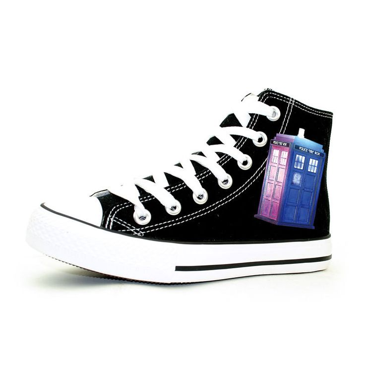 Doctor Who Shoes New Fashion Women's Casual Shoes TARDIS Hand Painted Shoes High Top Lace Up Canvas Shoes Gifts for Teenagers