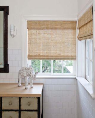 Natural woven flat fold shades 13596 bathroom re model for Natural woven flat fold shades