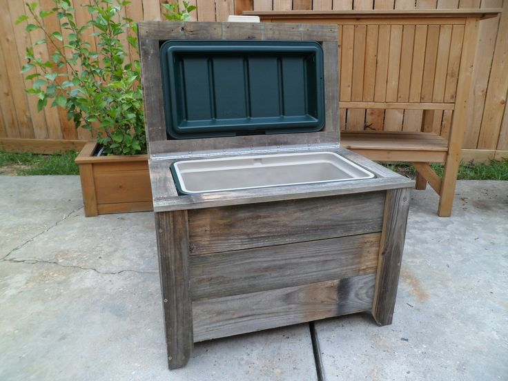 48qt reclaimed fencing cooler bench outdoor cooler hutch