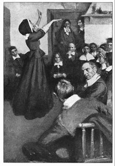 """""""Anne Hutchinson Preaching in Her House in Boston,"""" illustration published in Harper's Monthly, circa February 1901"""