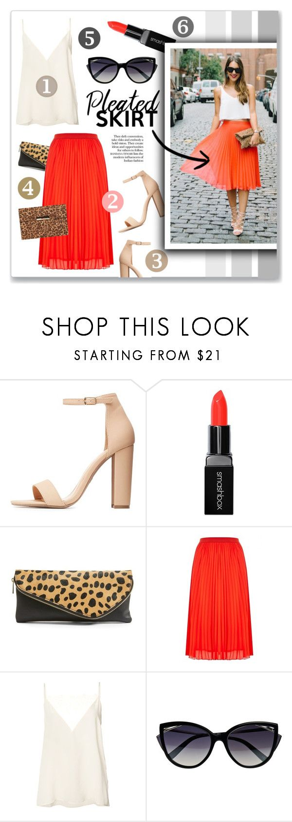 """""""Get the Look: Bright Pleated Skirt"""" by singingintherain-788 ❤ liked on Polyvore featuring Charlotte Russe, Smashbox, Sole Society, Anine Bing, La Perla, Dorothy Perkins, brights, NYC, summerstyle and pleats"""
