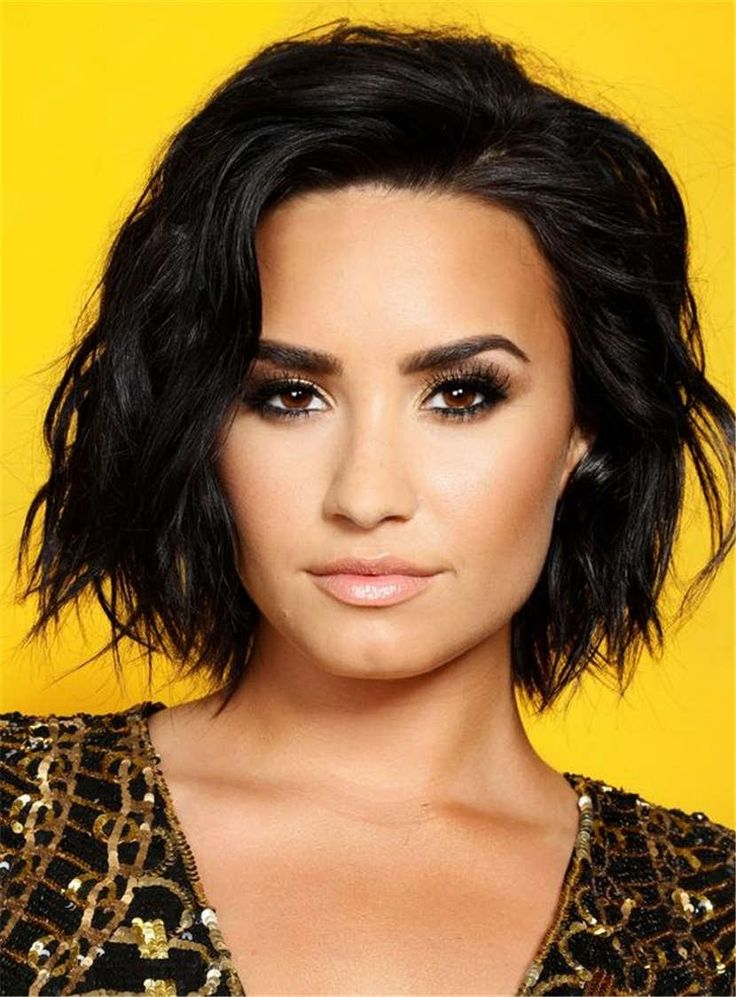 #WigsBuy - #WigsBuy Demi Lovato Sexy Blunt One Side Part Short Lob Wave Synthetic Hair Lace Front Wigs Afro 10 Inches - AdoreWe.com