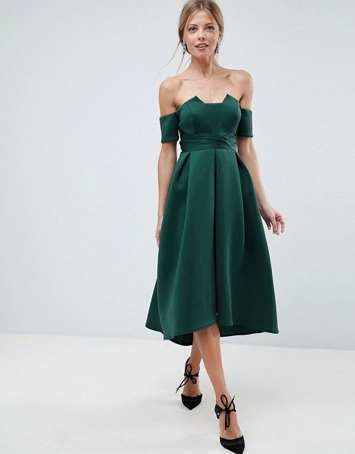 ASOS Bardot Pleated Waist Scuba Midi Prom Dress at asos.com - Christmas Eve Classy party dress