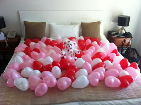 When the most romantic night of the year ends, my husband would be surprised to see the festive balloons covering the bed! A final creative reminder of my great love for him. I love the classic red hearts and pink undertones Valentines day is know for, and I want to incorporate it anyway I can!