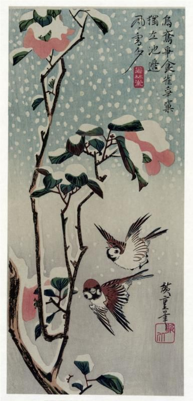 Sparrows and Camellias in the Snow, 1830-1838			Hiroshige - by style - Ukiyo-e ~Repinned Via Tomás Ribas