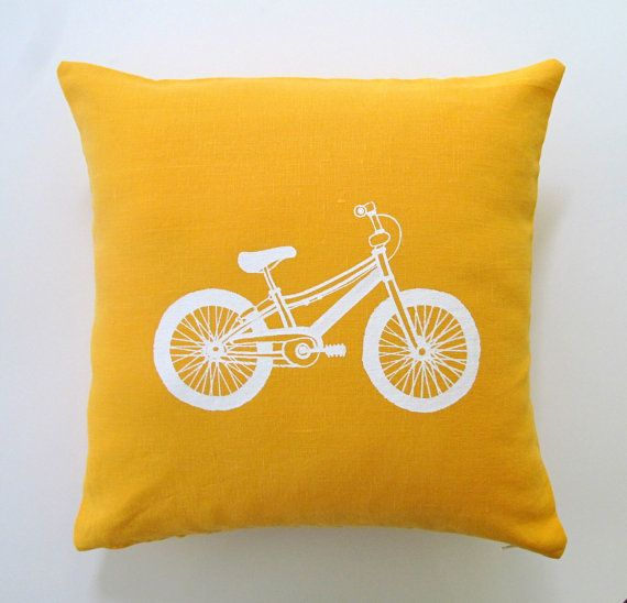 Pillow Cover Cushion Cover Accent Pillow - Bicycle in White on Mustard Yellow Linen 16 x 16 inches