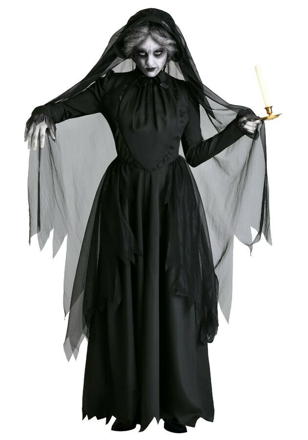 Ladies Corpse Bride Fancy Dress Veil Gloves Gothic Halloween Womens Costume
