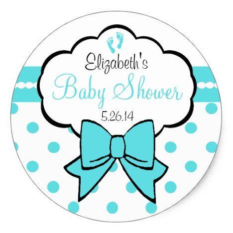 Robins Egg Blue Polka Dots-Baby Shower Classic Round Sticker | Zazzle.com