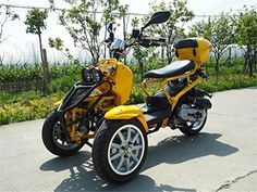 MOTOR HQ 49cc Trike Scooter Gas Moped Zoom Yellow 3 Wheels