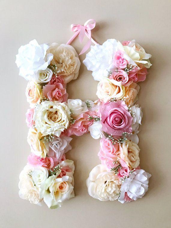 Flower Letters 18'' Floral Letter Vintage wedding by PaulettaStore