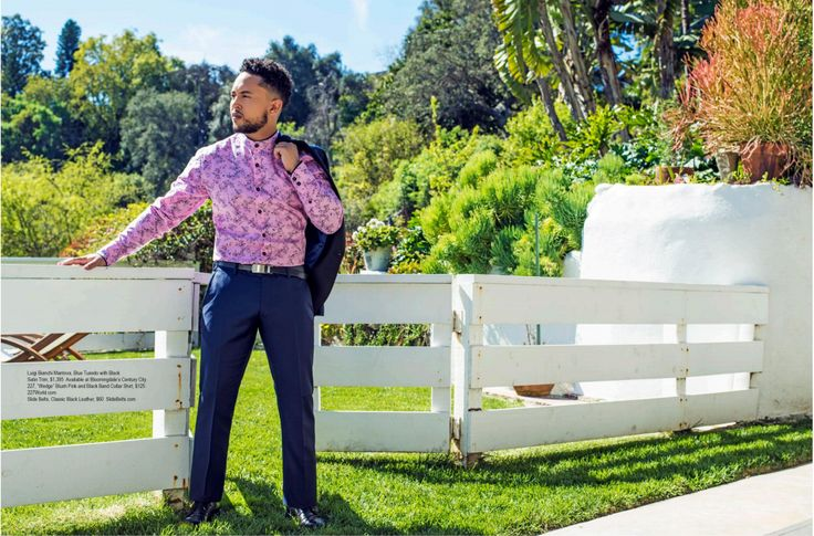 """227 World: Regard Magazine Issue 41 Spring 2017: Tahj Mowry """"The Passion That Completes Me""""  featured musician and actor Tahj Mowry was featured in an article about his sitcom """"Baby Daddy"""", future music plans, and sense of style """"I like to dress how I feel...wear things that are extension of me."""" Tahj dressed our long sleeve printed shirt with a suit and blazer.  227World Long Sleeve Printed Shirt: https://227world.com/collections/top/products/wedge-printed-mandarin-collar-button-up-shirt"""