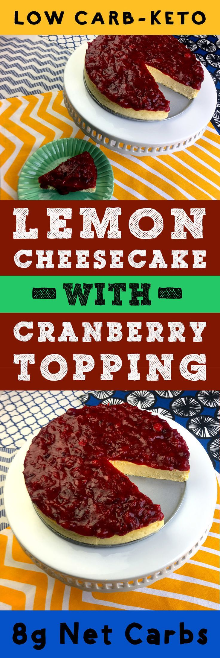 This recipe for Low Carb Lemon Ricotta Cheesecake with Cranberry Topping is Sugar Free and Gluten Free  It's also tasty as all get out.