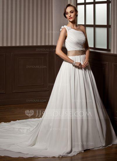 A-Line/Princess One-Shoulder Chapel Train Chiffon Wedding Dress With Ruffle Sash Beading Flower(s) (002011564)