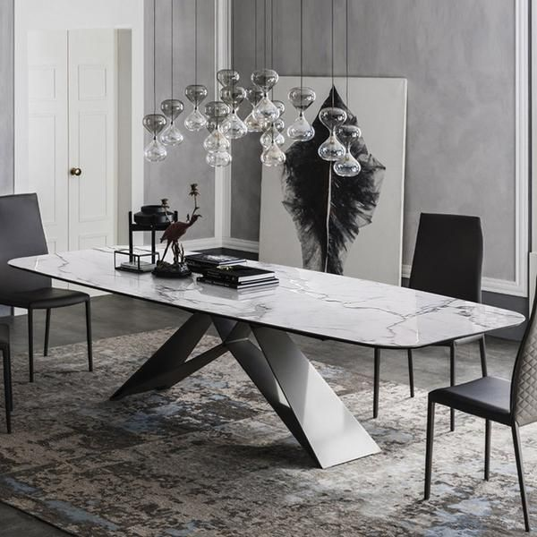 Modern White Marble Dining Table With Black Metal Frame Dining Table Marble Faux Marble Dining Table Marble Dining