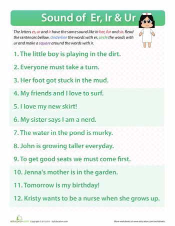 Er Ir Ur Words Worksheets Words And Articles